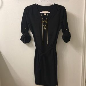 MICHAEL by Michael Kors Black Shir Dress w/ gold